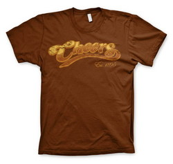 CHEERS DISTRESSED LOGO T-SHIRT (BROWN) XXL