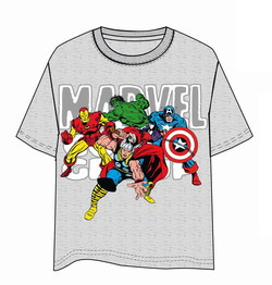 CAMISETA MARVEL GRUPO GRIS XL