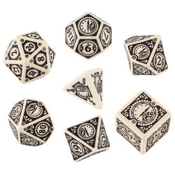 QW BEIGE-BROWN STEAMPUNK CLOCKWORK DICE SET (7)