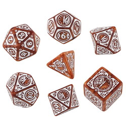 QW CARAMEL-WHITE STEAMPUNK CLOCKWORK DICE SET (7)