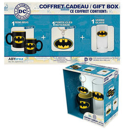 PACK GLASSES 29CL + KEYRING PVC + MINI MUG BATMAN