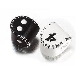 UNIQUE RUNIC BLACK D2 & WHITE D4 DICE SET