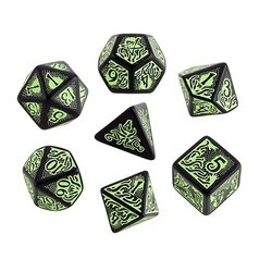 BLACK-GREEN CALL OF CTHULHU 7TH EDITION DICE SET (7)