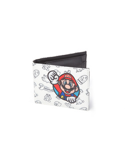 NINTENDO - ALLOVER PRINT BIFOLD WALLET WITH SUPER MARIO PATCH