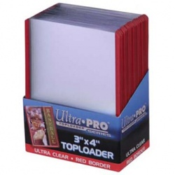 ULTRA PRO TOP LOADER TRANSPARENTE FILO ROJO (25)