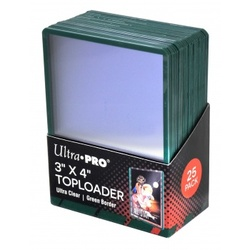 ULTRA PRO TOP LOADER TRANSPARENTE FILO VERDE (25)