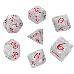 QW DADOS CLASSIC RPG PEARL & RED SET (7)