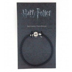 PULSERA CHARMS HARRY POTTER NEGRA CUERO M 19CM