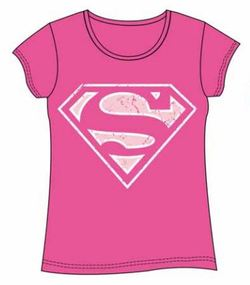 SUPERMAN GIRL T-SHIRT PINK XL