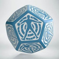 QW D12 DICE HIT LOCATION DIE BLUE & WHITE