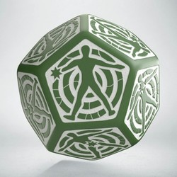 QW D12 DICE HIT LOCATION DIE GREEN & WHITE