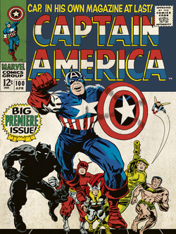 CUADRO CANVAS CAPITAN AMERICA RETRO 30 X 40