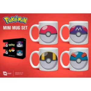 4 MINI MUGS SET POKEMON POKEBALLS ESPRESSO