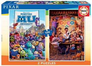 DISNEY 100 PCS PUZZLE PACK COCO + MONSTERS INC