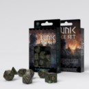 QW RUNIC BOTTLE GREEN & GOLD DICE SET